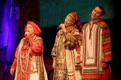 The performance on the stage of the national folk singer of russian songs nadezhda babkina and theatre russian song Stock Images