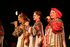 The performance on the stage of the national folk singer of russian songs nadezhda babkina and theatre russian song. At the celebration of the international day Stock Photo