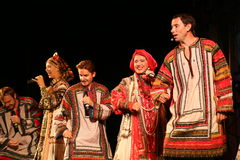 The performance on the stage of the national folk singer of russian songs nadezhda babkina and theatre russian song. At the celebration of the international day Stock Images