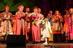 The performance on the stage of the national folk singer of russian songs nadezhda babkina and theatre russian song. At the celebration of the international day Stock Image