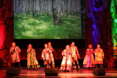 The performance on the stage of the national folk singer of russian songs nadezhda babkina and theatre russian song. At the celebration of the international day Stock Photography