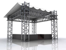 Performance stage podium with plastic roof perspective Royalty Free Stock Photography