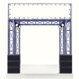 Performance stage steel construction with speaker on white. Illustration Royalty Free Stock Photography