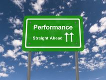 Performance straight ahead sign Stock Photo