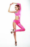 Performance. Stylish Fashion Model in Pink Club Clothes Dancing. Entertainment Royalty Free Stock Image