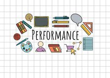 Performance text with drawings graphics Stock Photos