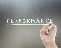 Performance text. With hand writing Stock Images
