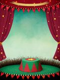 Performance ,  theatre , circus scene. Fantasy illustration or poster for  performance  theatre or  circus  with curtains and  podium. Computer graphics Stock Photos