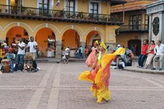 Performance for tourists in the historical part of the city of Cartagena Royalty Free Stock Image