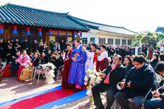 A performance of the Traditional Korean Wedding. Royalty Free Stock Photo