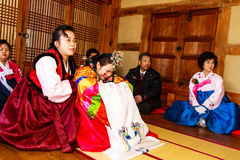 A performance of the Traditional Korean Wedding. Stock Photography