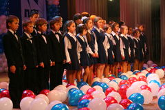 The performance of the vocal chorus at the Palace of culture. Royalty Free Stock Photography