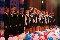 The performance of the vocal chorus at the Palace of culture. Stock Photos