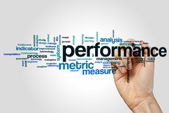 Performance word cloud. Concept on grey background stock photography