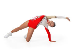 Performance by the young athlete aerobics. On the white background royalty free stock photos