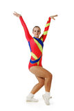 Performance by the young athlete aerobics. On the white background royalty free stock images