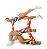 Performance by the young athlete aerobics Stock Photos
