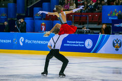 Performance young athletes skaters in short program Royalty Free Stock Photos