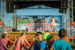 The performance of young singer Sony Lapshakova on the occasion of the youth Day in the Kaluga region in Russia on 27 June 2016. Stock Images