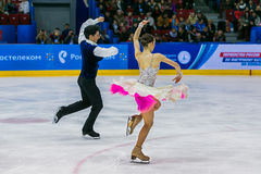 Performance of young skaters athletes in pairs short program Royalty Free Stock Photography