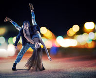 Performance of a young talented couple Royalty Free Stock Images