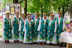 Performances of amateur choral collective during event. GOMEL, BELARUS - MAY 16, 2014: Performances of amateur choral collective during event City of Masters royalty free stock image