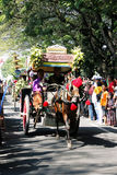 Performances anniversary carnival culture nganjuk city, East Jav. A, Indonesia with around town using traditional vehicles decorated horse cart exciting. on 18 royalty free stock photo