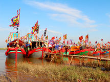 Performed traditional boat on the river Royalty Free Stock Photo