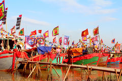 Performed traditional boat on the river Royalty Free Stock Photos