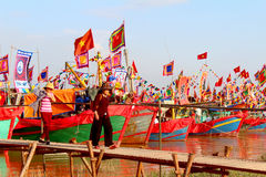 Performed traditional boat on the river Stock Photos