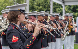 Performence at Roosevelt Island. New York, NY USA - June 16, 2017. The USMC Band of New Orleans performed at the Freedom Park in Roosevelt Island Royalty Free Stock Photo