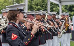 Performence at Roosevelt Island. New York, NY USA - June 16, 2017. The USMC Band of New Orleans performed at the Freedom Park in Roosevelt Island Royalty Free Stock Images