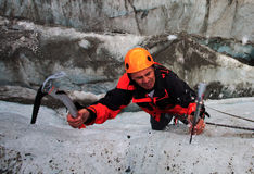 Performer. Climber in Haute Savoie, Mer de Glace, France Royalty Free Stock Photo