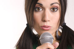 Female Performer Sing Handheld Acoustic Microphone Royalty Free Stock Photos