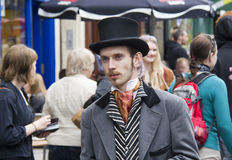 Performer at Edinburgh Festival Fringe. EDINBURGH, UK: AUGUST 2: Unidentified actor as Victorian gentleman hands out flyers in the street at the Edinburgh Stock Photography
