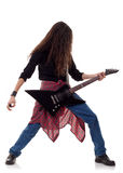 Performer with an electric guitar. Young rock performer with an electric guitar Stock Images