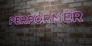 PERFORMER - Glowing Neon Sign on stonework wall - 3D rendered royalty free stock illustration Royalty Free Stock Photo