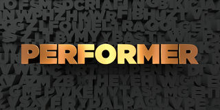 Performer - Gold text on black background - 3D rendered royalty free stock picture Royalty Free Stock Photo