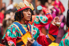 Performer at Jakar Dzong traditional culture festival in Bumthan Royalty Free Stock Photo