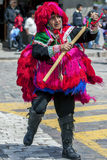A performer in the May Day parade in Cusco, Peru. Royalty Free Stock Photo