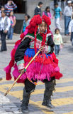 A performer in the May Day parade in Cusco, Peru. Royalty Free Stock Photography