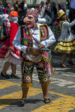 A performer in the May Day parade in Cusco, Peru. Stock Images