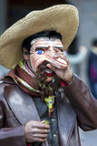 A performer in the May Day parade in Cusco, Peru. Royalty Free Stock Image