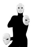 Performer mime with mask. Performer man mime with mask on studio isolated on white background Stock Photo