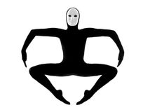 Performer mime with mask jumping exercising. Performer man mime with mask  on studio isolated on white background Royalty Free Stock Photos