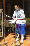 Performer of music of the glass harp in the national Ukrainian costume Stock Photos
