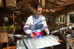 Performer of music of the glass harp in the national Ukrainian costume Royalty Free Stock Photo