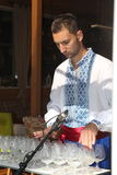 Performer of music of the glass harp in the national Ukrainian costume Stock Image