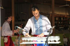 Performer of music of the glass harp in the national Ukrainian costume Royalty Free Stock Image