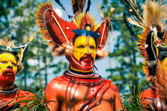 Performer in Papua New Guinea. Hagen show, Papua New Guinea - circa August 2015: Half-naked man during Hagen show, Papua New Guinea. Documentary editorial Stock Images